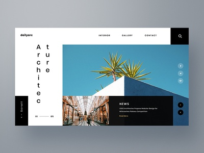 Architecture Web Exploration ux ui interface typography clean design news minimal landing page design web architecture