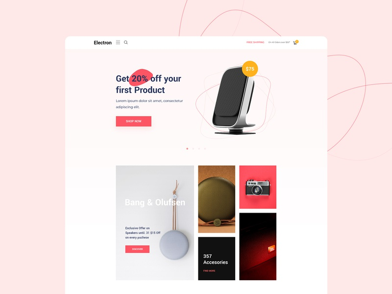 Ecommerce Home Page nazmul hassan uigeek product website landing clean interface minimal ui ux web ecommerce design ecommerce