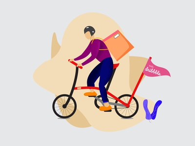 Delivery man by bicycle courier online shop delivery ui illustration stock delivery illustration deliveryman app vector ui illustration design