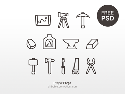 Forge Icon v1 psd free map ignot saw hammer forge line icon