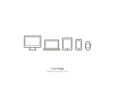 Device Icon v1 macbook ipad iphone watch mac apple device icon line free psd