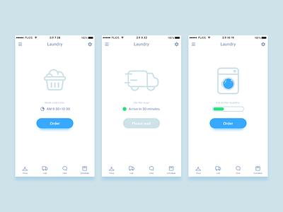 Laundry App Concept Design app design ui simple blue clean laundry