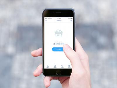 Laundry App Concept v2 app design ui simple blue clean laundry