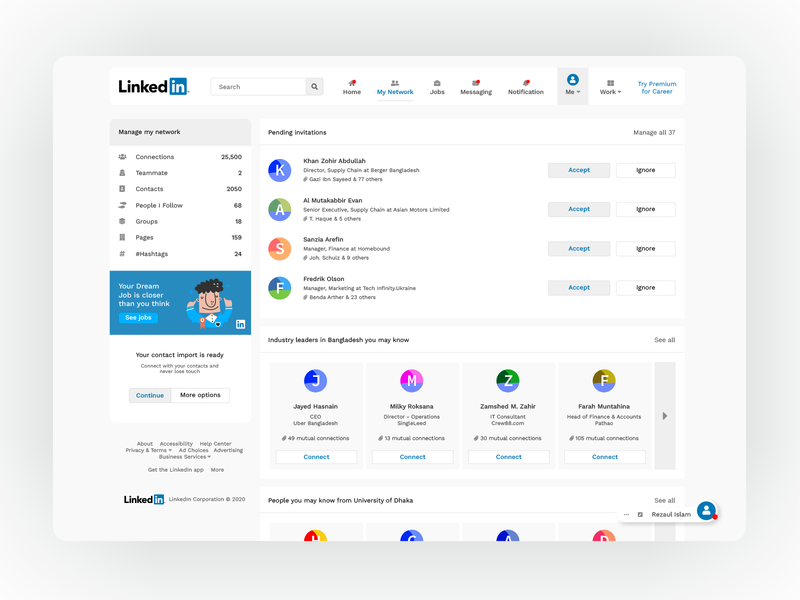 LinkedIn Network Page Redesign uidesign networking social app linked in clean ui concept uiux redesign netowrk ui linkedin web