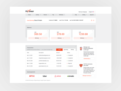 Payoneer User Dashboard payment method coins credit transaction money payment uidesign idea concept clean ui uiux clean redesign payoneer