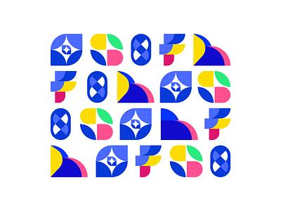 Shapes logomarks logotype colorful colors shape elements shapes icon design iconography icon set icons logo illustration