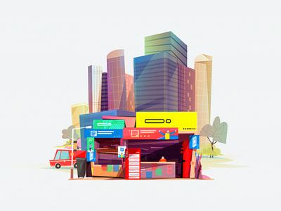 Retail Store In Dhaka bangladesh illustrated natural illustration mobile human banner brand shop pos intelligence retail