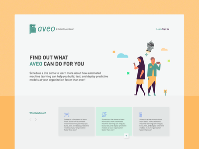 Aveo — Features human figure landing pages stars retail illustration analytics robot data features ui