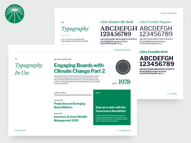 Governance - Style Guide typogaphy style guide branding