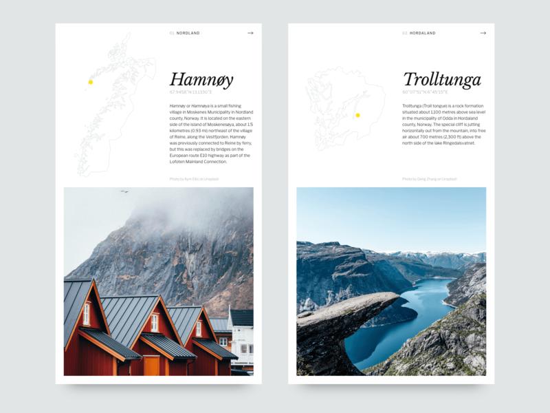 Norway Destination Cards design web typogaphy adobe xd user interface design ui adobexd