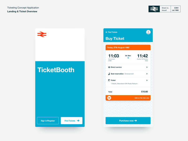 TicketBooth - Rail Ticketing Concept ui adobe xd ticket app ticket booking travel app