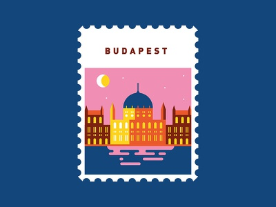 Budapest Stamp  parliament river illustration flatdesign vector stamp travel hungary budapest