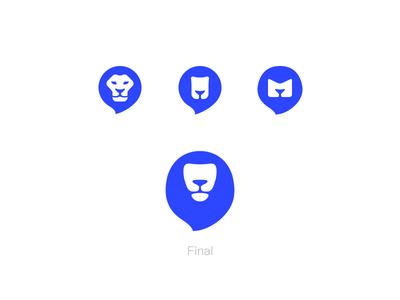 Lion logo evolution mail blue evolution lion icon logo