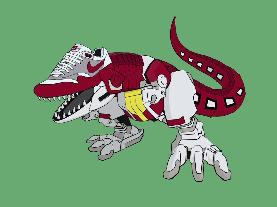 T-rex Dinozord - Air Max Fusion illustrations illustration art mecha sneaker sneakers dinosaur ilustration illustrator