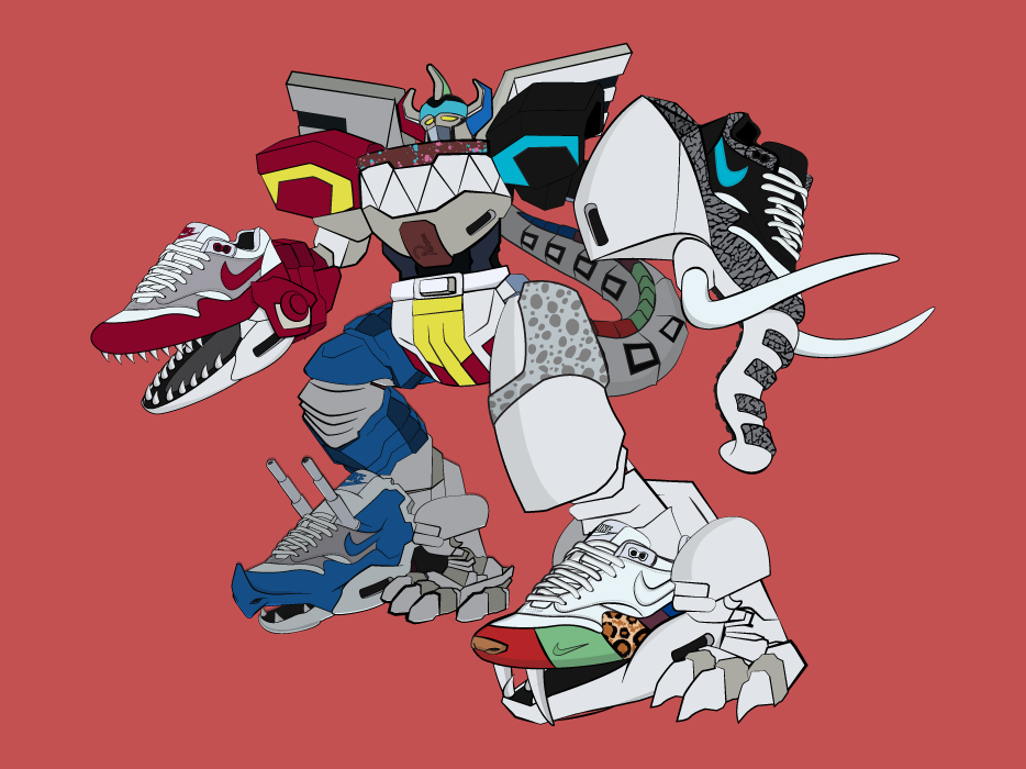 Megazord - Air Max Fusion manga anime streetwear streetart illustrator digital illustration vector nike illustrations illustration art ilustration sneaker illustration