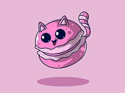 Macaron - Cosplay Cat animal food mbe style cartoon character cartoons character cartoon character design characters food character animal character mascot logo mascot character mascot illustration animation