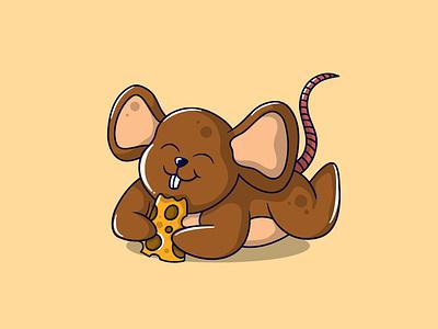 Rat and Cheese animal cartoon food character food cartoon mbestyle cartoon illustration character cartoon character design characters animal character mascot logo mascot character mascot design branding illustrator vector logo graphic design illustration animation