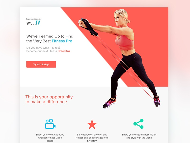 Fitness draft contest web page landing page website flat branding icons interface clean red fitness responsive