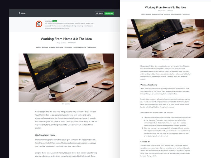 Story article story design template freebie