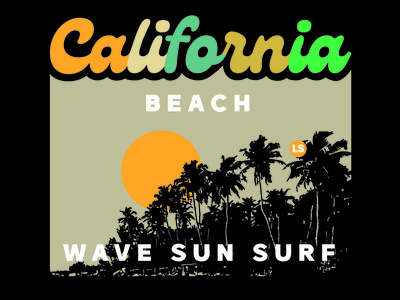 California Beach art retro type vintage flat vector illustrator illustration graphic design design branding