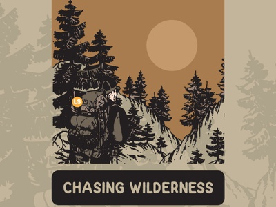 Chasing Wilderness adventure type illustration minimal retro vintage vector illustrator graphic design branding design