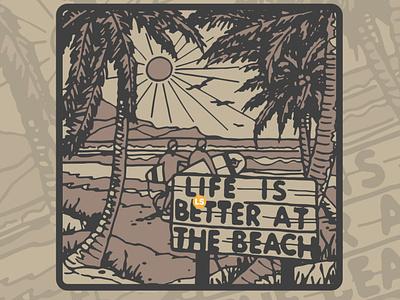 Life is better at beach type retro vintage minimal design logo illustrator illustration graphic design branding