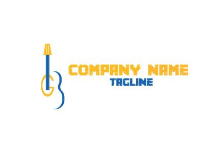 GUITAR LOGO blue elegant guitar logo illustrator illustration flat business design graphic design branding