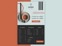 Union Coffee Shop Website Design in Adobe XD