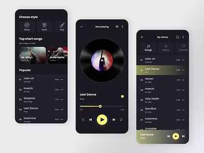 Music player design ux minimal music player app design artist mobile music dark app playlists ui playlist