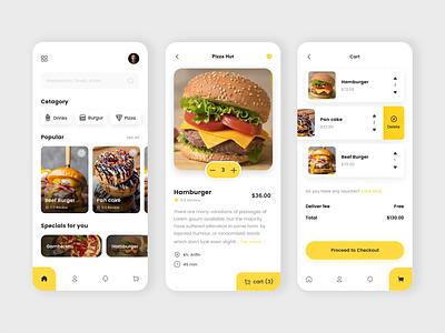 Food delivery app mobile ui minimal burger food delivery application menu food app ui food delivery service food app delivery app delivery cart ui app design app