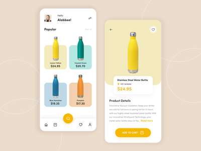 Bottle  App Design water bottle cart drinks menu app interface bottles app design drinks drink bottles app bottleshot bottles mobile mobile ui ui minimal app design app