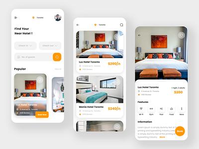 Hotel Booking app ui minimal app design app room booking accommodation booking app booking hotel branding travel hotels room hotel app hostel hotel booking hotel