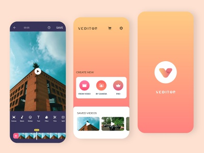 Veditor App Screens - Android Video Editor atomic system visual identity video tool layers video editing synchronization onboarding color correction montage product design android app ios app video app video editor
