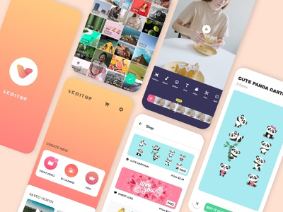 It's Part 2 of Veditor App Screens. design ui brand identity video editing video gallery home screen app screen android ios app app ui interface video editor app ui kit mobile app design ux design ui design uiux