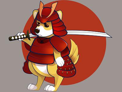 Samurai Corgi japan corgi vector art adobe illustrator art vector illustration