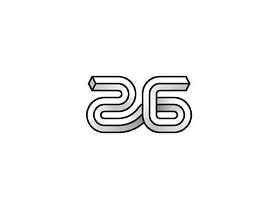 26 isometric 3d count six twenty twnetysix monogram number 26 design icons logo