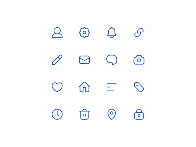 Practicing icons again location trash clock home heart camera chat email pencil link bell icons