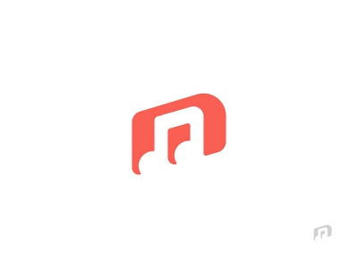 m + music note brand logo space negative note music letter m