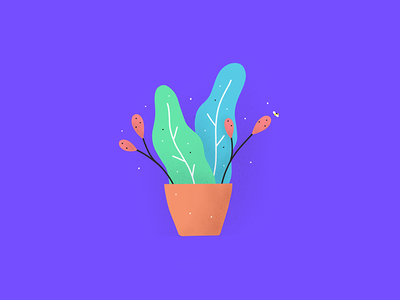 Plant procreate ipad illustration yellow bee violet blue green orange organic plant