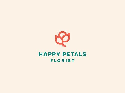 Happy Petals design brand nature icon logo flower florist rose petals