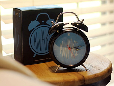 """Timbers """"Awake"""" Conference Theme clock awake jr. high packaging graphic clean illustration simple conference camp"""