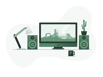 Landar's Workspace green noise texture workspace flat