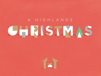 A Highlands Christmas gold red typography holidays christmas