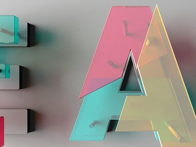 and on the third day glass transparent typography plexi c4d 3d