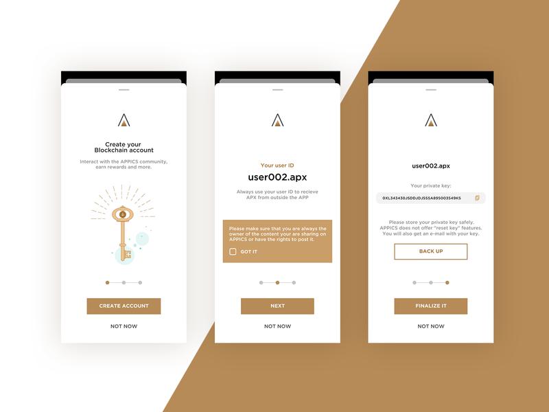 Blockchain Account Creation screen design illustration ui design socialmedia app blockchain