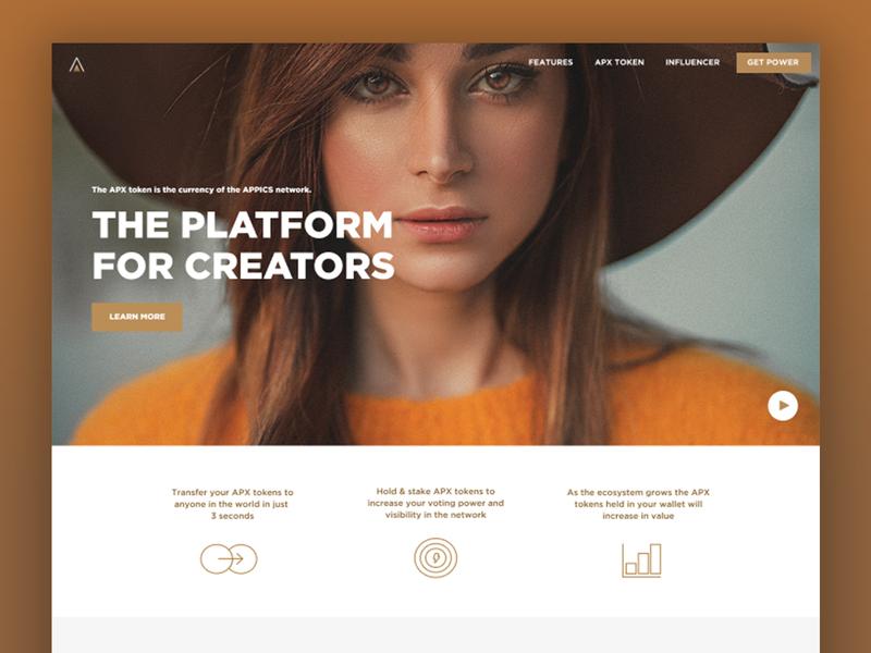 APPICS Influencer app blockchain influencer ui design socialmedia cryptocurrency website screen design