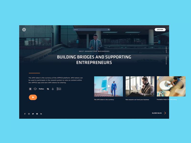 Globo Landing entrepreneurship entrepreneur ui design screen design website