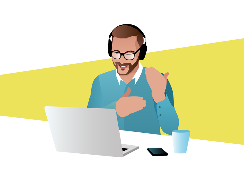 Video Consulting character design illustraion video consulting