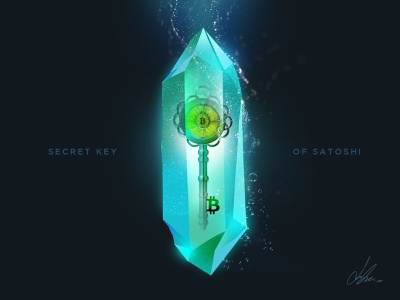 Secret Key of Satoshi art water crytal key visual art screen design design illustration blockchain