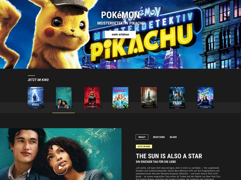 Warner Brothers Germany - KINO entertainment movie screen design ui ux design ui design web design website concept website